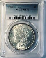 1890 MORGAN SILVER DOLLAR - PCGS MINT STATE 62  - CERTIFIED MINT STATE 62 MORGAN