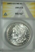 1881-S MORGAN SILVER DOLLAR, ANACS MINT STATE 62,  CLOSE TO FULL PL, BEAUTY