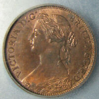 1873 VICTORIA FARTHING GRADED MS 64 RED & BROWN BY ICG   LOVELY COIN
