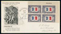 MAYFAIRSTAMPS US FDC 1943 FRANCE OCCUPIED NATIONS BLOCK FIRS