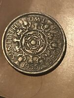 1955 UNITED KINGDOM GREAT BRITAIN TWO SHILLINGS COIN  REALLY