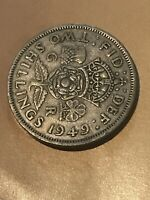 GREAT BRITAIN 1949 TWO SHILLINGS COIN  BRITISH UK REALLY NIC