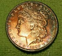 A1140,RAINBOW TONED MORGAN SILVER DOLLAR,1890 P VAM 15A R6