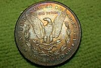 A1126 END OF ROLL RAINBOW TONED MORGAN SILVER DOLLAR,VAM 55 1901 O SELDOM SEEN