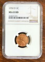 1950 D LINCOLN CENT NGC MINT STATE 65RD - A GORGEOUS COIN, GREAT LUSTER