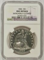 1846 SEATED LIBERTY SILVER DOLLAR $1 NGC UNC DETAILS CLEANED 3974414-001
