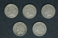LOT OF  5  NICKEL 3 CENT COINS 1865 1866 1867 1868 1881  C10