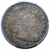 1798 DRAPED BUST DIME SMALL 8 JR-3 R-5 PCGS VF-35 TONED,