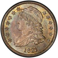 1831 BUST DIME JR-5 PCGS MINT STATE 66 CAC AMAZING EYE APPEAL