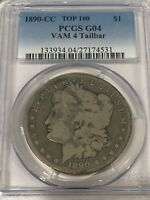 1890-CC MORGAN SILVER DOLLAR PCGS G04 TAILBAR VAM 4 GOOD LOW BALL TOP 100 COIN