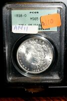 A1411,MORGAN SILVER DOLLAR,1898 O PCGS MINT STATE 65 OLD GREEN HOLDER