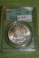 A1391,MORGAN SILVER DOLLAR,PCGS 1881 P MINT STATE 63 OLD GREEN HOLDER