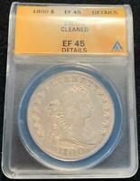 1800 DRAPED BUST SILVER DOLLAR $1 ANACS EXTRA FINE 45 DETAILS