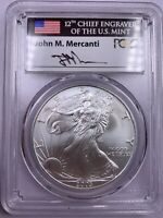 2003 PCGS GEM UNCIRCULATED AMERICAN SILVER EAGLE JOHN MERCANTI SIGNATURE