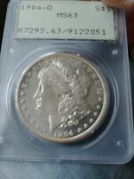 1904 O MORGAN SILVER DOLLAR - PCGS MINT STATE 63, OLD RATTLER