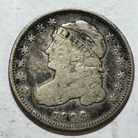 1829 CAPPED BUST US SILVER DIME. VG-FINE. Q2