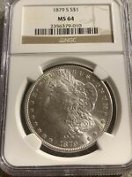 MINT STATE 64 GRADED - 1879-S MORGAN SILVER DOLLAR- NGC  B-12