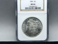 1884-P NGC MINT STATE 64 MORGAN SILVER DOLLAR PREMIUM COIN AND STRIKE  LUSTER
