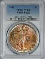 1986 AMERICAN SILVER EAGLE PCGS MINT STATE 68 - GORGEOUS OBVERSE TONING