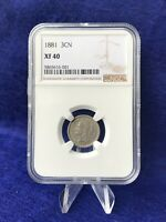 1881 THREE CENT PIECE 3C NICKEL NGC EXTRA FINE 40  FINE