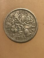 1953 GREAT BRITAIN 6 PENCE SIXPENCE COIN  BRITISH REALLY NIC