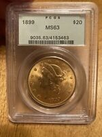 1899 LIBERTY $20 GOLD COIN PCGS MS 63 OGH