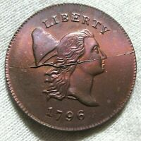 1796 NO POLE TO CAP HALF CENT, RESTRIKE CHOICE UNCIRCULATED BEAUTIFUL COLOR