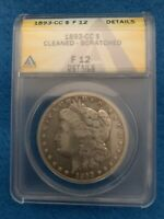 1893-CC MORGAN SILVER DOLLAR ANACS F12 DETAILS CLEANED SCRATCHED