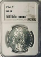 1886 MORGAN SILVER DOLLAR - NGC MINT STATE 62 - MINT STATE 62  MORGAN DOLLAR