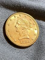 1882 $10 LIBERTY HEAD GOLD EAGLE   UNCERTIFIED AU