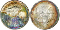 1991 ASE $1 PCGS MINT STATE 68 SILVER EAGLE  BEAUTIFUL RAINBOW TONED MINT STATE 68