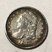 1833 CAPPED BUST US SILVER HALF DIME. VF-EXTRA FINE , SCRATCHES. ED1