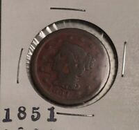 1851 BRAIDED HAIR, LARGE CENT - 169 YEARS OLD