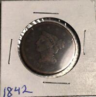 1842 BRAIDED HAIR LARGE CENT, LARGE DATE - 178 YEARS OLD