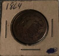 1864 US TWO CENT PIECE CIVIL WAR DAYS OLD US COIN