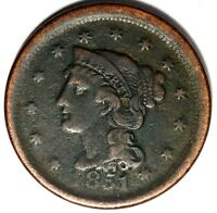 1851-P 1C BRAIDED HAIR LARGE CENT 18LLTW0405 $1 SHIPPING