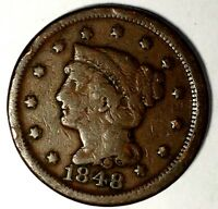 1848-P 1C BRAIDED HAIR LARGE CENT 18LTCT0721 $1 SHIPPING