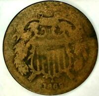 1869-P 2C COPPER TWO CENT PIECE HWL 70 CENTS SHIPPING