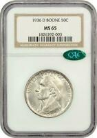1936-D  BOONE COMMEMORATIVE SILVER HALF DOLLAR - NGC MINT STATE 65 - MINT STATE 65 CAC