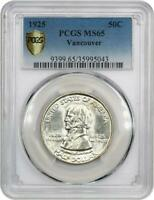 1925 VANCOUVER COMMEMORATIVE SILVER HALF DOLLAR- PCGS MINT STATE 65 - MINT STATE 65