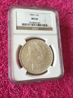 1896 $1 MORGAN SILVER DOLLAR MINT STATE 66 NGC BRILLIANT WHITE EXCELLENT COIN  CLEAN