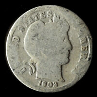 1903-P BARBER 90 SILVER DIME SHIPS FREE. BUY 5 FOR $2 OFF