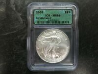 2005 UNITED STATES SILVER 1 OZ AMERICAN EAGLE COIN ICG MINT STATE 69 BEAUTIFUL