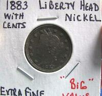 1883 LIBERTY HEAD NICKEL WITH CENTS EXTRA FIND. SHIPS FREE IN U.S.A.