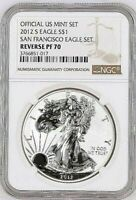 2012 S SILVER EAGLE FROM THE OFFICIAL SAN FRANCISCO SET NGC REVERSE PROOF 70
