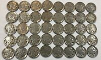 ROLL OF 40 FULL DATE INDIAN HEAD BUFFALO NICKELS. MIXED COMMON DATES 02