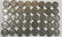 ROLL OF 40 FULL DATE INDIAN HEAD BUFFALO NICKELS. MIXED COMMON DATES 05