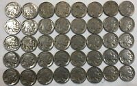 ROLL OF 40 FULL DATE INDIAN HEAD BUFFALO NICKELS. MIXED COMMON DATES 06