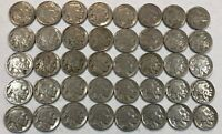ROLL OF 40 FULL DATE INDIAN HEAD BUFFALO NICKELS. MIXED COMMON DATES 07
