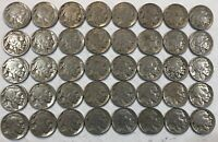 ROLL OF 40 FULL DATE INDIAN HEAD BUFFALO NICKELS. MIXED COMMON DATES 10